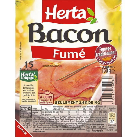 Bacon fumé tranches fines, Herta (15 tranches, 150 g)