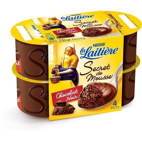 Mousse au Chocolat Noir, La Laitière (4 x 59 g)
