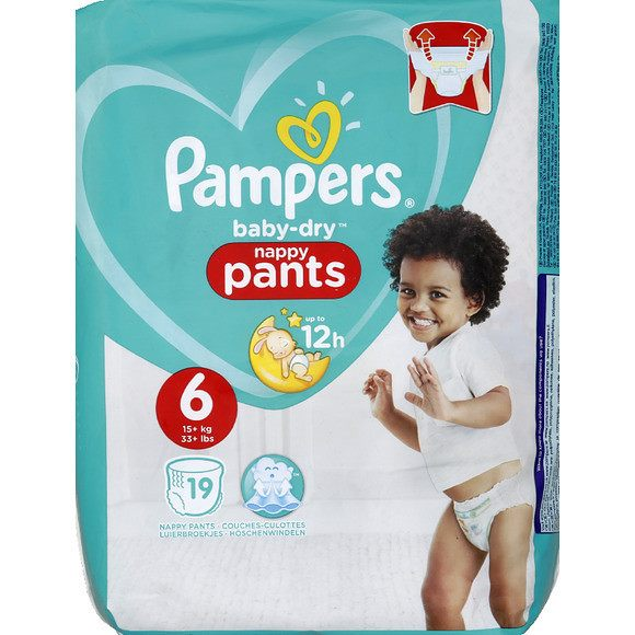 Couches Baby Dry Pants Taille 6 / + de 15kg, Pampers (x 19)