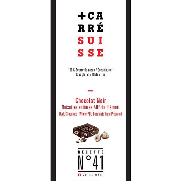 Chocolat noir - Noisettes entières AOP du Piémont, Carré Suisse (180 g)