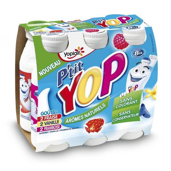 P'tit Yop 2 fraise/ 2 vanille/ 2 framboise, Yoplait (6 x 180 g)