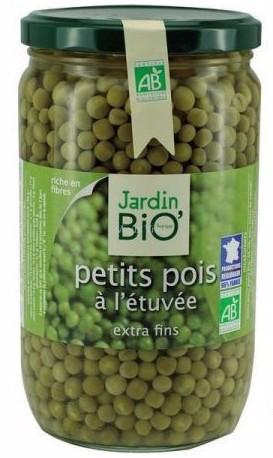 Petits pois à l'étuvée extra fins bio, Jardin Bio (660 g)