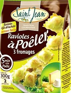 Ravioles à poêler 3 fromages, Saint Jean (300 g)