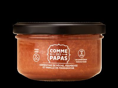 Compotine de pêche, de framboise et vanille de Madagascar BIO - 6 mois Comme des Papas (130 g)