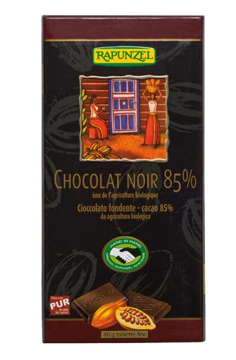 Chocolat noir 85% de cacao BIO, Rapunzel (80 g)