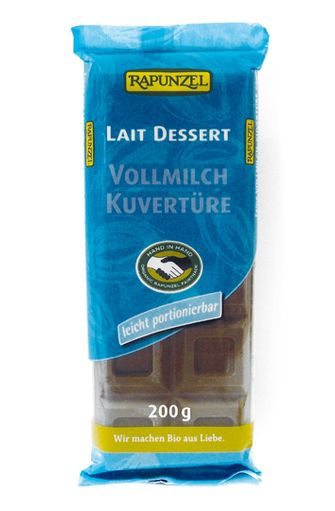Chocolat au lait dessert 37% de cacao BIO, Rapunzel (200 g)