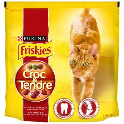 Croc & Tendre au boeuf poulet et légumes pour chats, Friskies (1,5 kg)