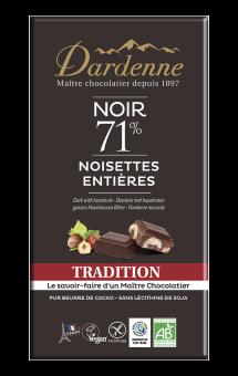 Chocolat noir tradition 71 % aux noisettes entières BIO, Dardenne (180 g)