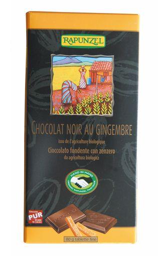 Chocolat noir au gingembre BIO, Rapunzel (80 g)