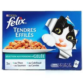 Tendres éffilés de poisson en gelée pour chats adultes, Félix (12 x 100 g)