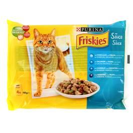Sachets de poissons en sauce pour chats adultes, Friskies (4 x 100 g)