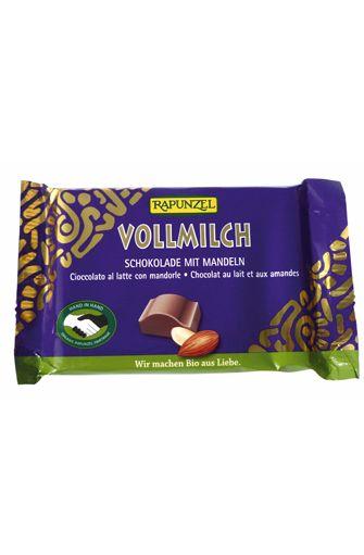Chocolat au lait aux amandes entières BIO, Rapunzel (100 g)