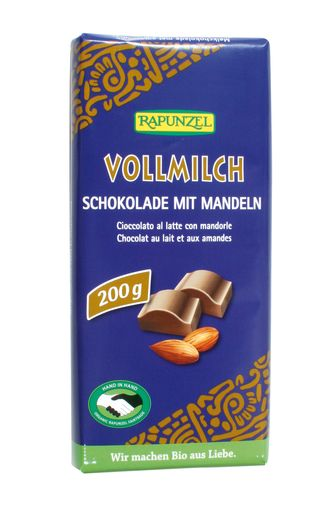 Chocolat au lait aux amandes entières BIO, Rapunzel (200 g)
