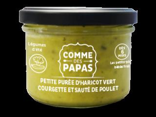 Petite purée d'haricot vert, courgette et sauté de poulet BIO - 6 mois Comme des Papas (150 g)