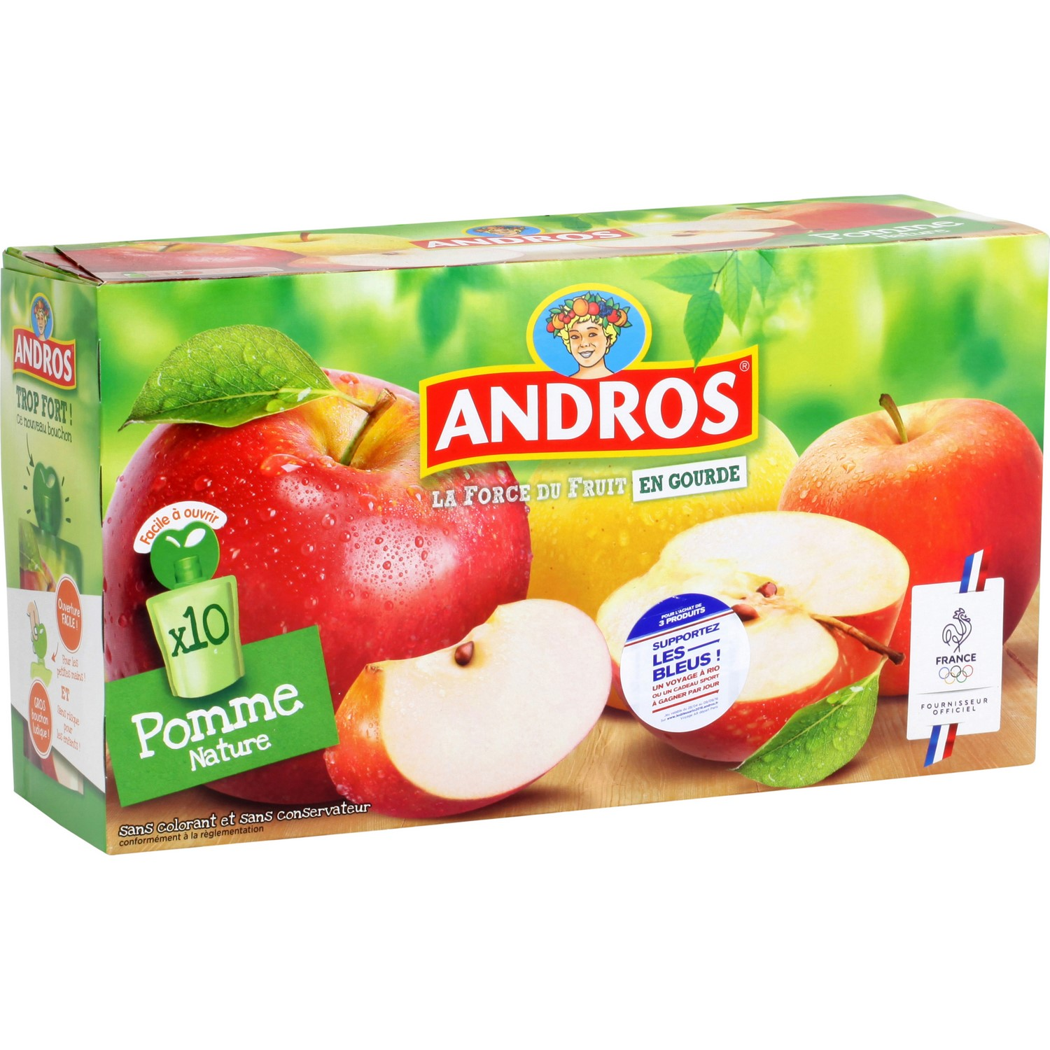 Compote-gourde Pomme nature, Andros (10 x 90 g)