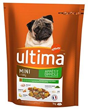 Croquettes pour petit chien appétit difficile, Ultima (1 kg)