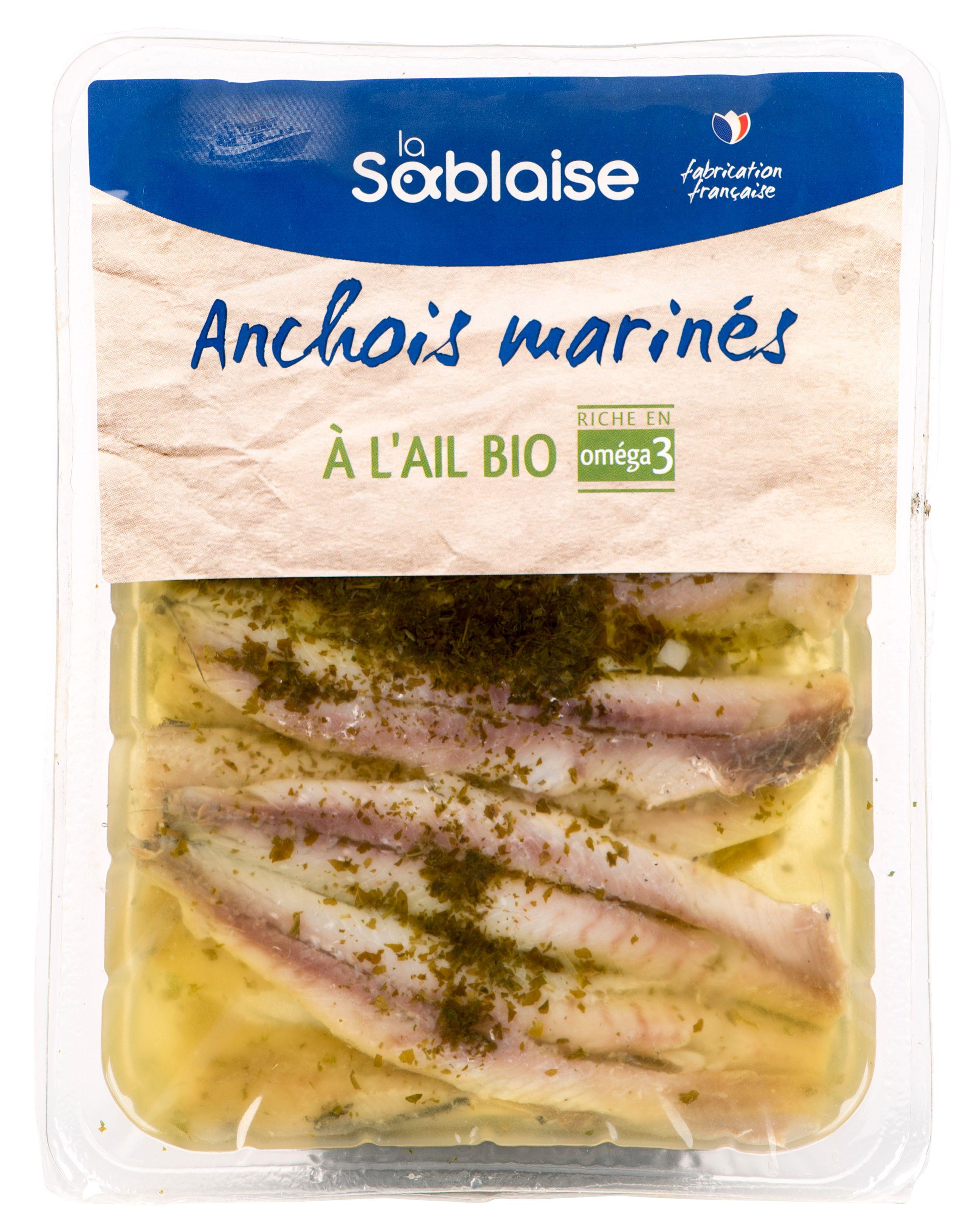 Anchois marinés à l'ail BIO, La Sablaise (150 g)