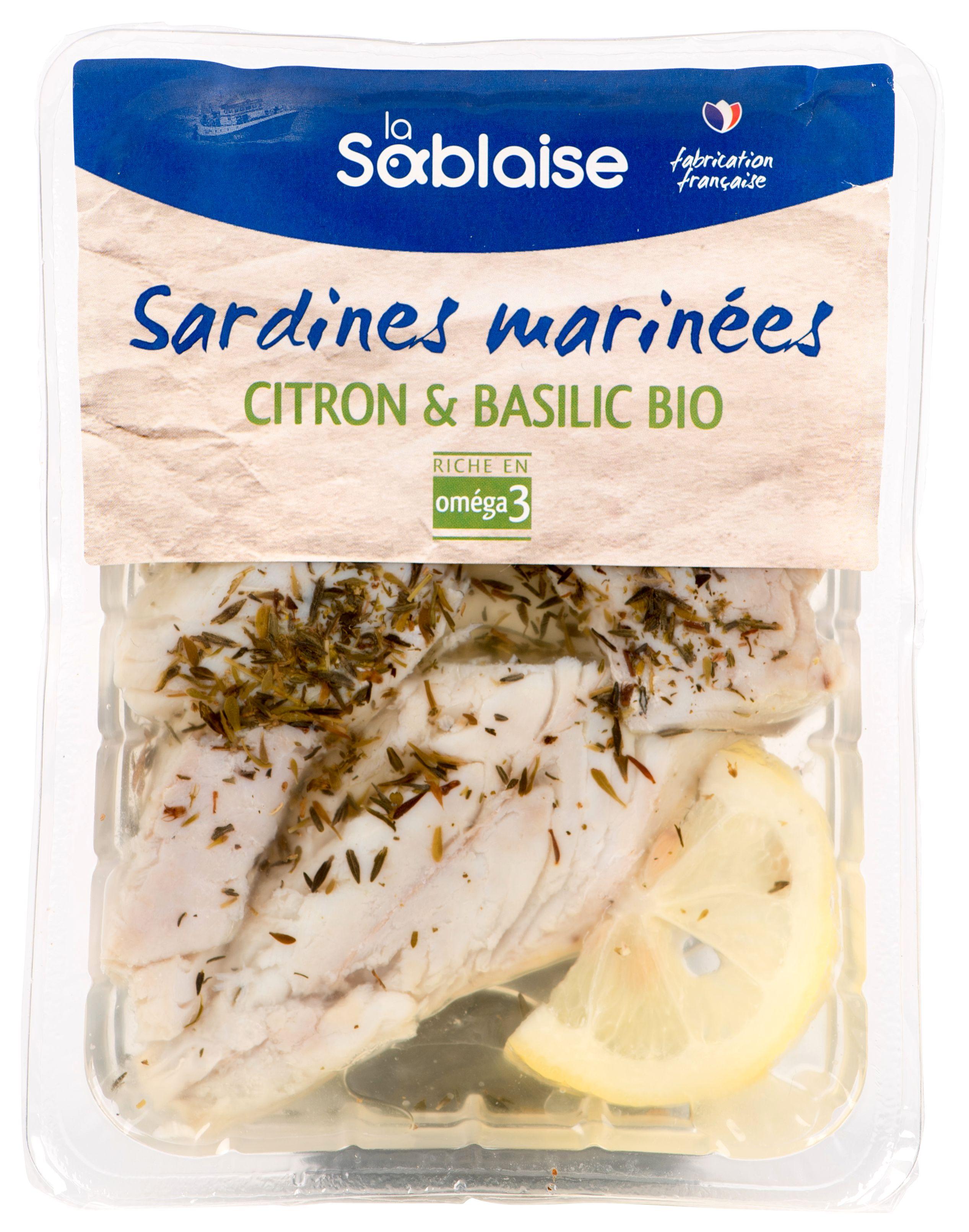 Sardines marinées au citron et basilic BIO, La Sablaise (150 g)