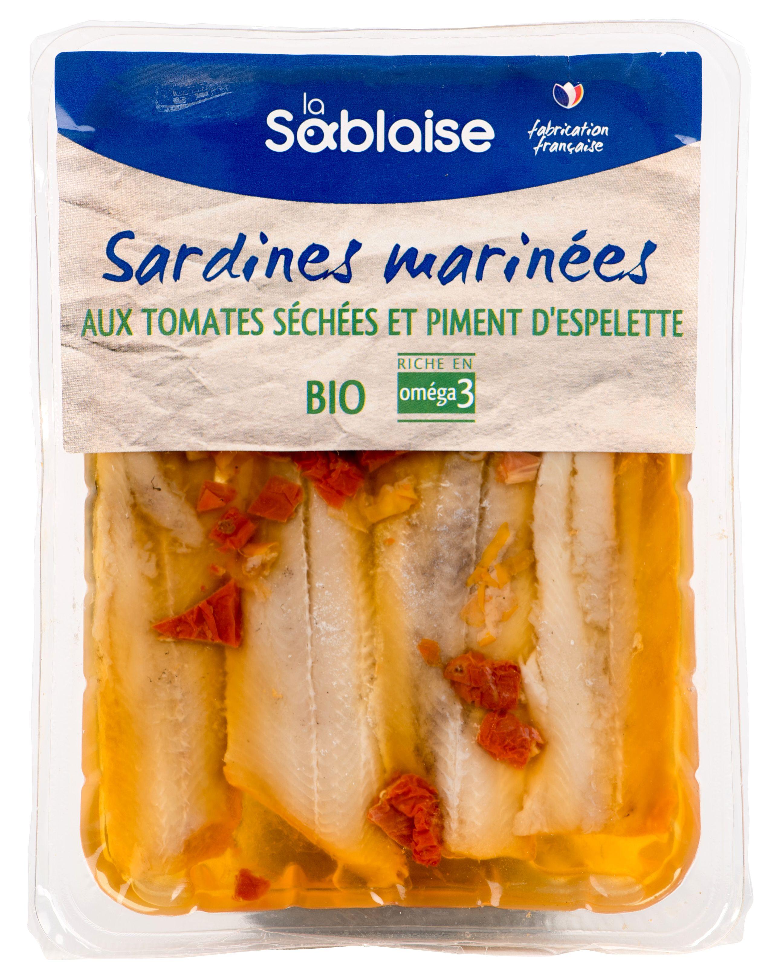 Sardines marinées aux tomates et piment d'espelette BIO, La Sablaise (150 g)