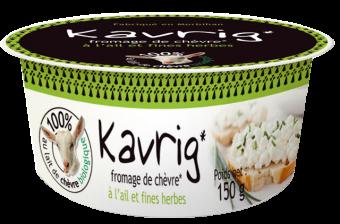 Kavrig, fromage de chèvre à tartiner, ail et fines herbes BIO, Kerguillet (150 g)