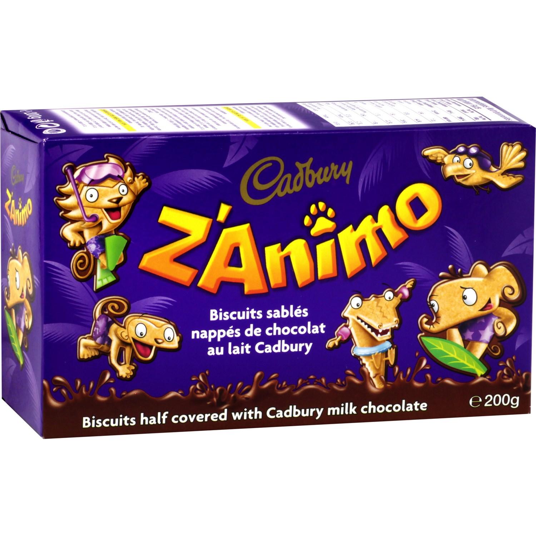 Biscuits Z'Animo au chocolat au lait, Cadbury (200 g)