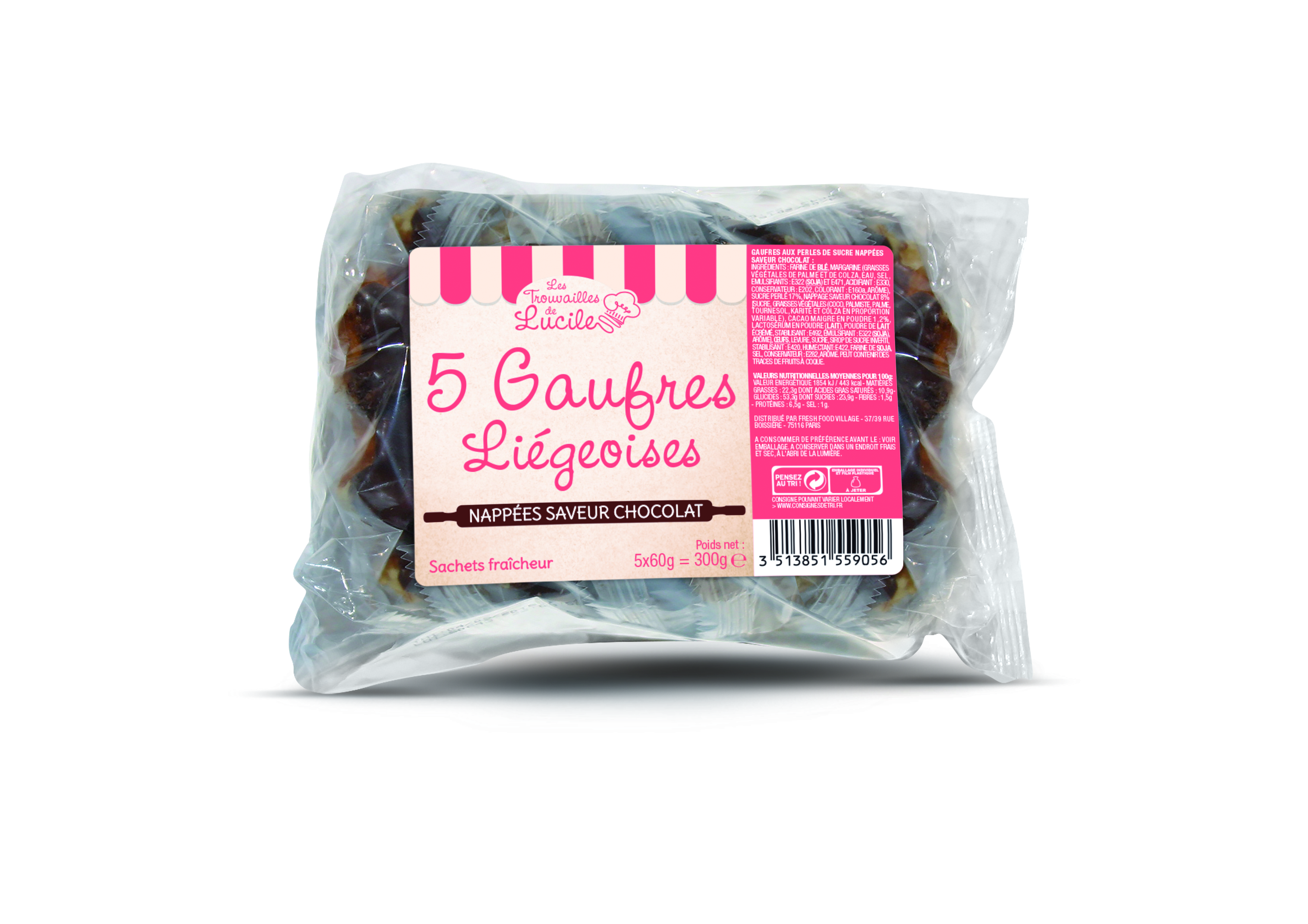Gaufres liégeoises au chocolat, Les trouvailles de Lucile (300 g)