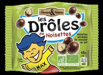 Drôles de noisettes toastées enrobées de chocolat au lait, petit sachet, Saveurs et Nature (45 g)