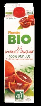 Jus d'orange sanguine frais BIO 100% pur jus, Planète Bio (1 L)