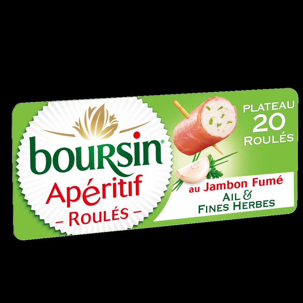 Fromage apéritif roulés ail et fines herbes au jambon fumé, Boursin (x 20, 100 g)