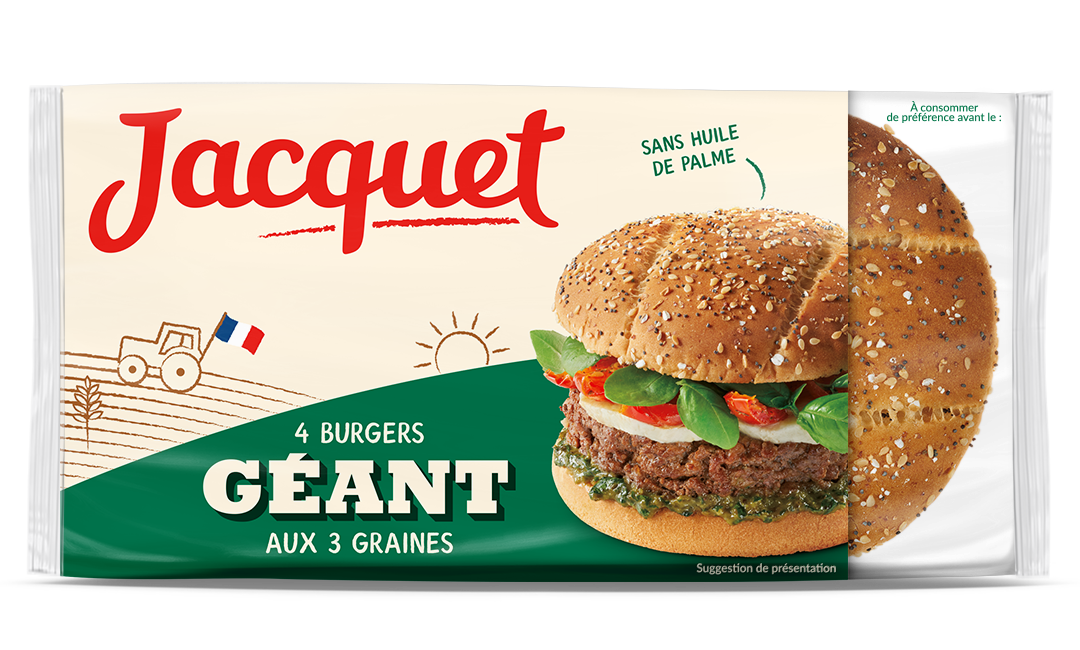 Pains hamburger géants aux 3 graines, Jacquet (x 4, 330 g)