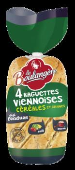 Baguettes viennoises aux céréales, La Boulangère (x 4, 340 g)