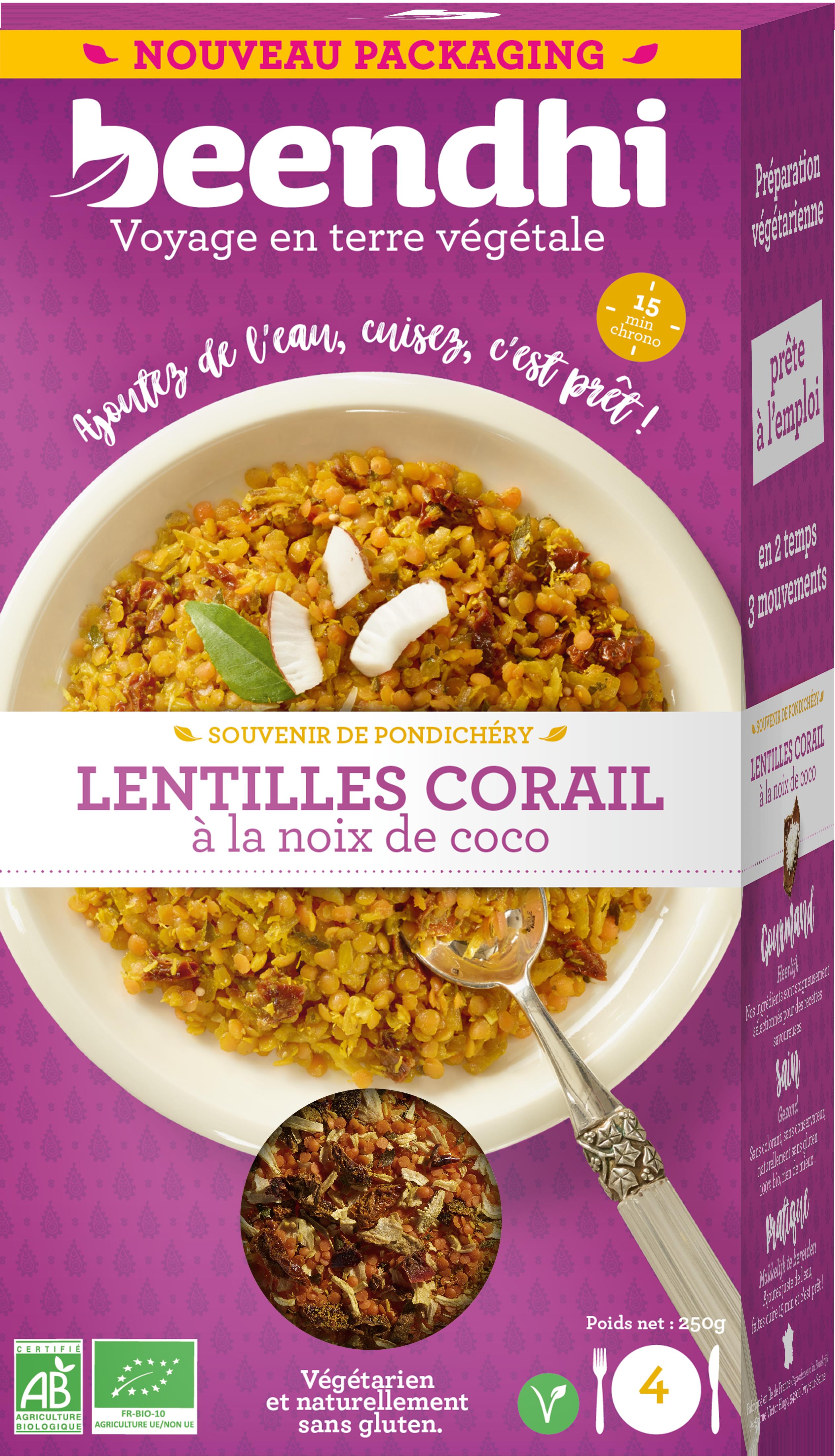 Lentilles corail à la noix de coco BIO, Beendhi (250 g)
