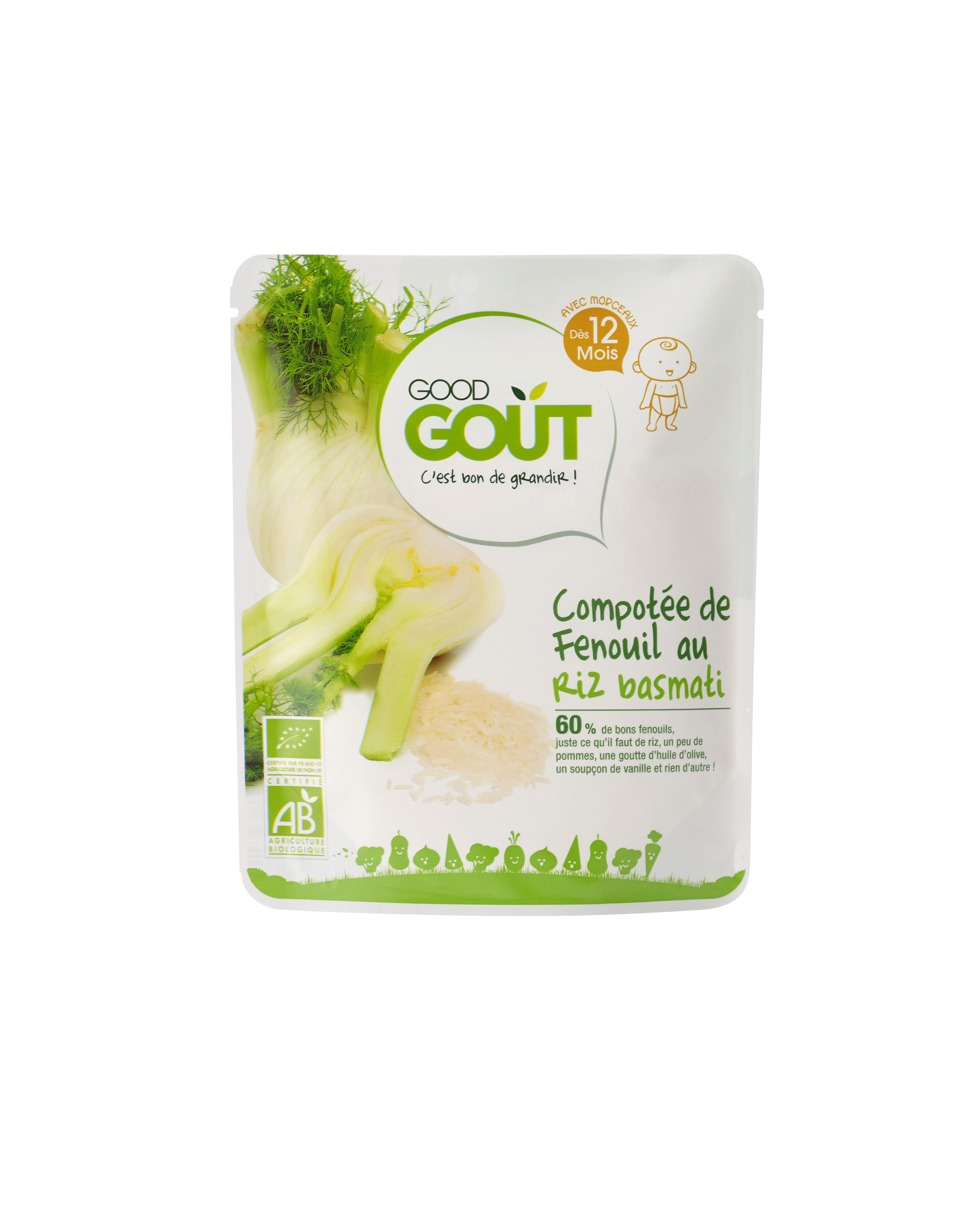 Compotée de fenouil au riz basmati et vanille BIO, Good Goût (220 g) - dès 12 mois