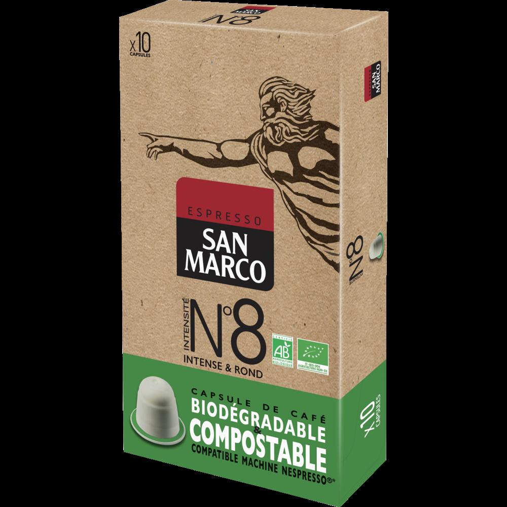 Café capsule n°8 compostable BIO, San Marco (x 10)