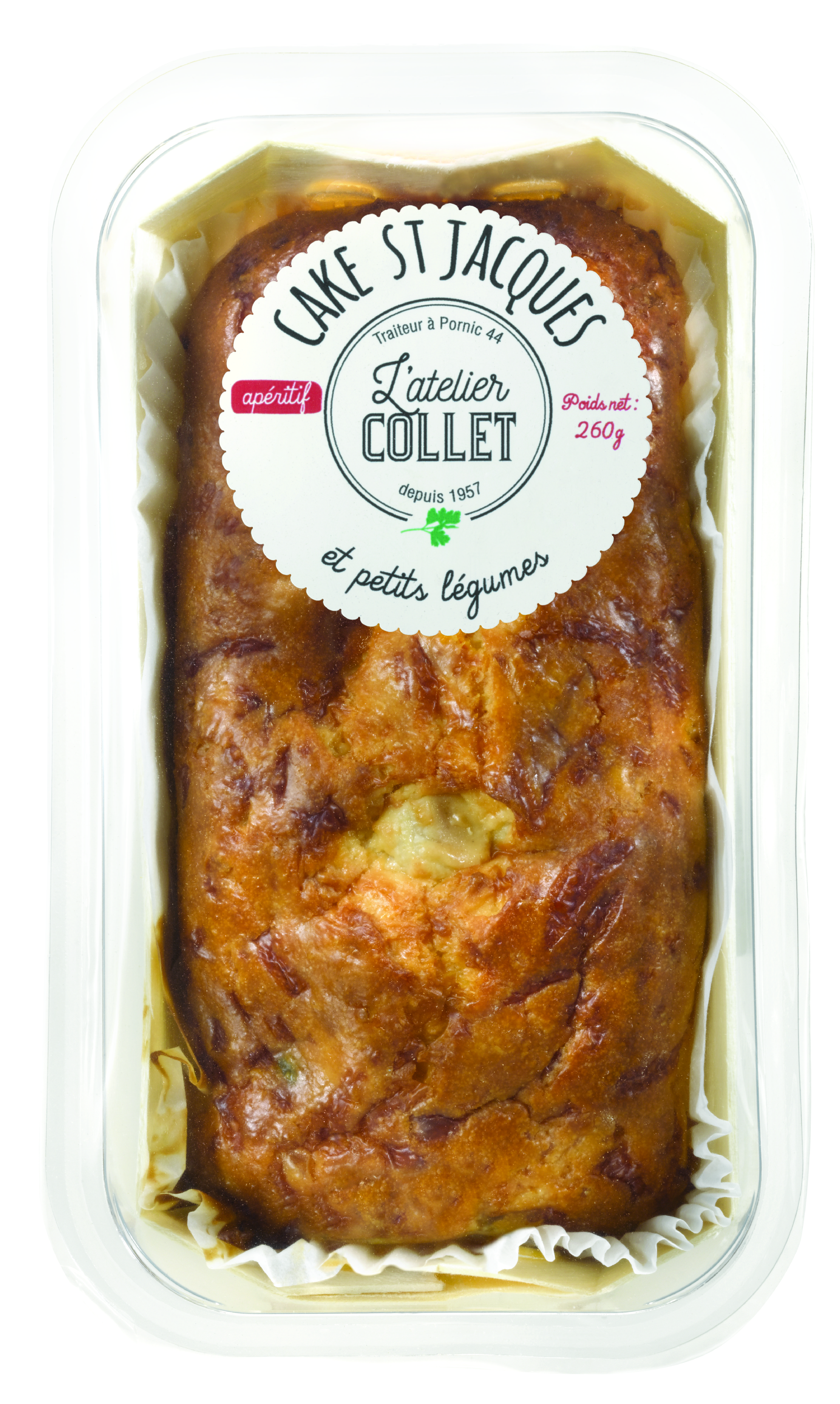 Cake St Jacques et petits légumes, Cake saumon et crevettes, L'atelier Collet (260 g)