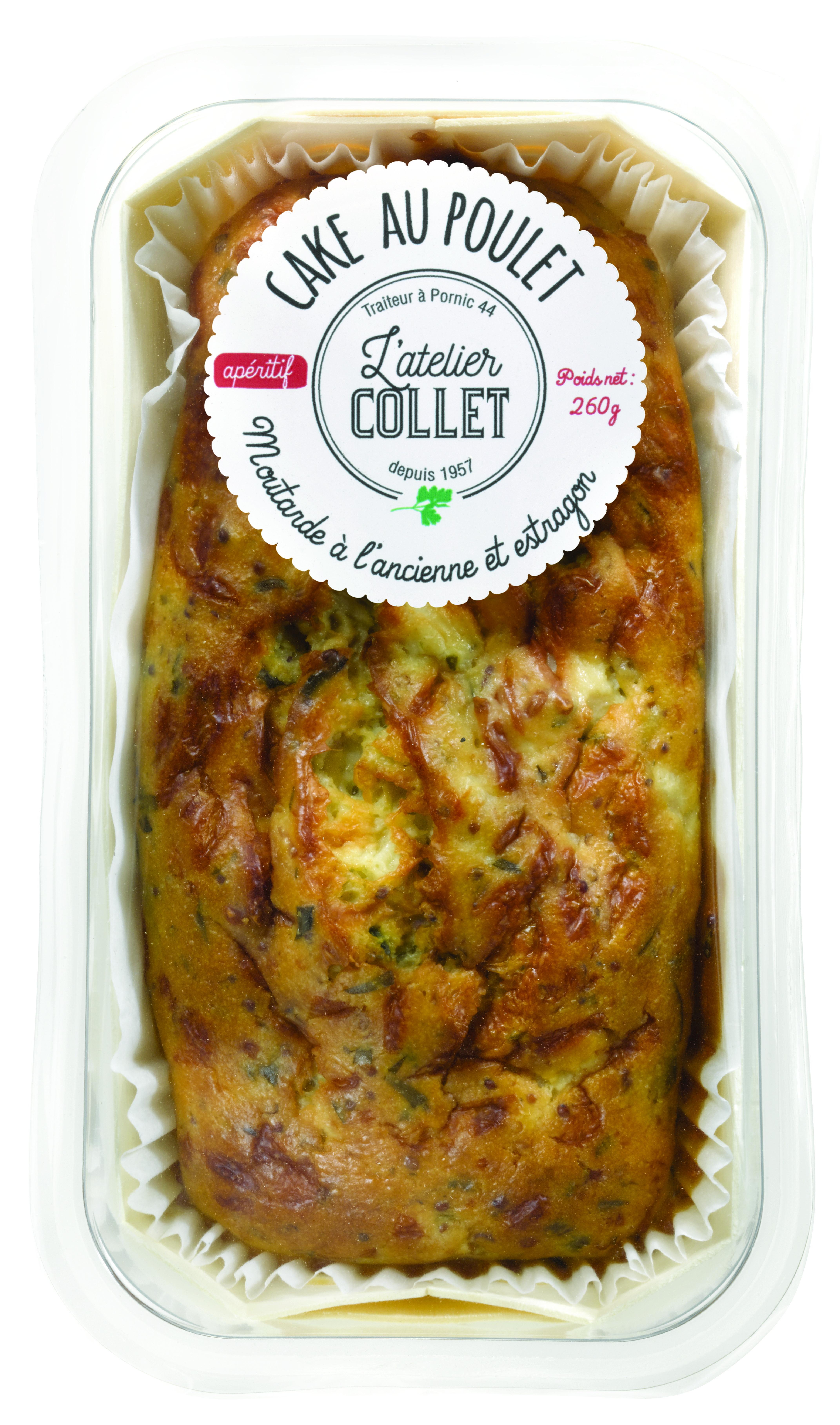 Cake Poulet moutarde à l'ancienne et estragon, L'atelier Collet (260 g)