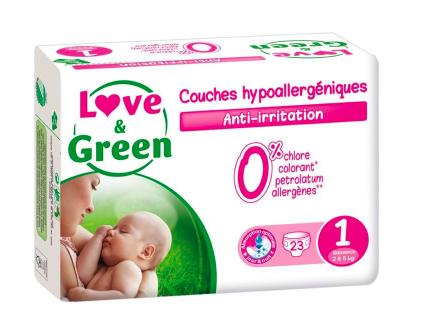 Couches Bébé Hypoallergéniques 0% Love & Green - Taille 1/2 à 5 kg (x 23 couches)