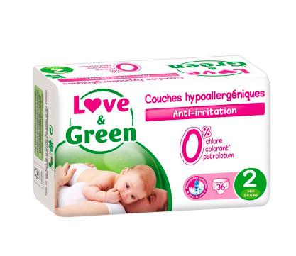 Couches Bébé Hypoallergéniques 0% Love & Green  - Taille 2/3-6 kg (x 36 couches)