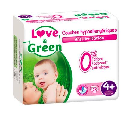 Couches Bébé Hypoallergéniques 0% Love & Green - Taille 4+/9-20 kg (28 couches)