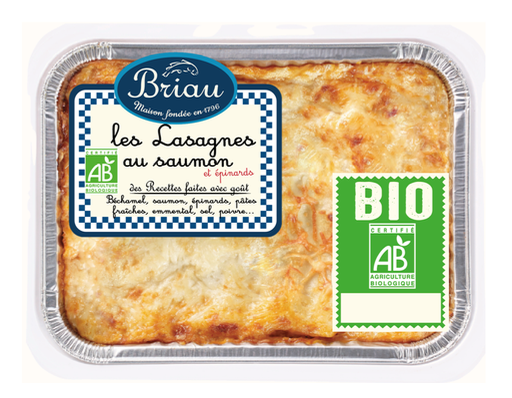 Lasagne au saumon et aux épinards BIO, Maison Briau (550 g)