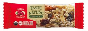 Barre de céréales aux cranberries BIO, Taste of Nature (40 g)