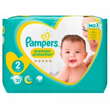 Couches Premium Protection Taille 2 / 4-8 kg, Pampers (x 31)
