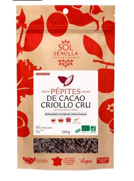 Cacao cru en pépites BIO, Sol Semila (250 g)