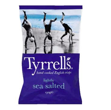 Chips pomme de terre au sel de mer, Tyrrells (150 g)