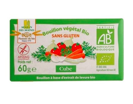 Bouillon végétal en cube, sans gluten BIO, Moulin des Moines (6 x 10 g)