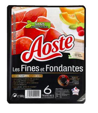 Jambon cru tranches fines et fondantes, Aoste (6 tranches, 100 g)