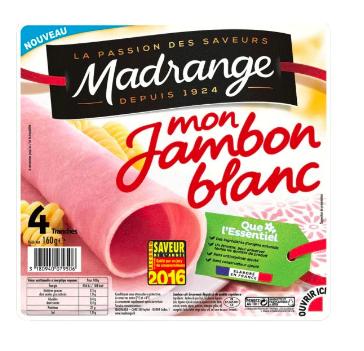 Mon jambon blanc sans antibiotiques, Madrange (4 tranches, 160 g)