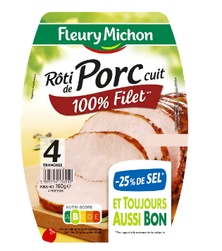 Rôti de porc cuit -25% de sel, Fleury Michon (4 tranches, 160 g)
