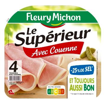 Jambon Le Supérieur avec couenne -25% de sel, Fleury Michon (4 tranches, 160 g)