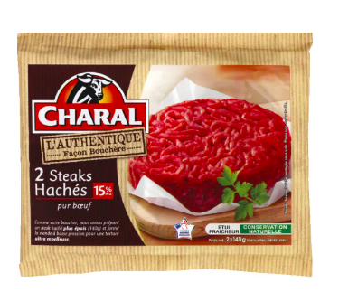 Steak haché L'authentique 15% MG, Charal (2 x 140 g)